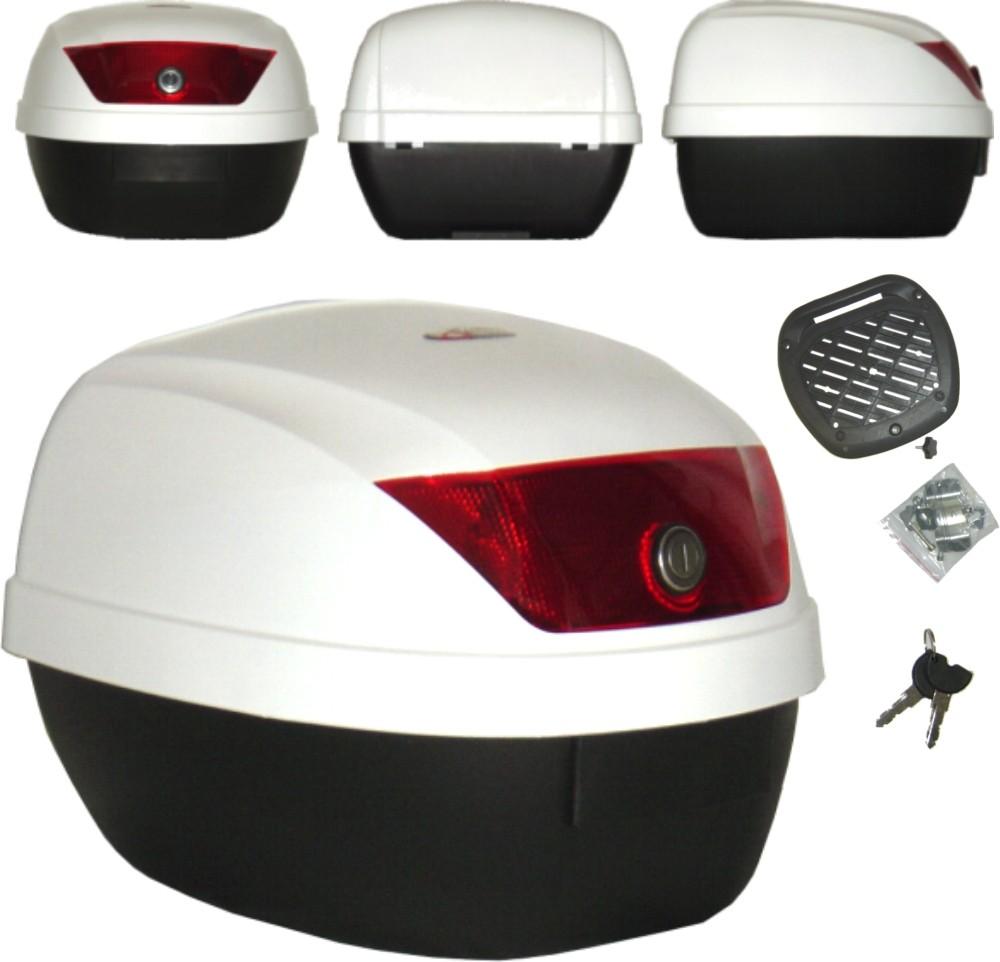 Bauletto Moto 28 Litri Scooter Valigia Rigida Universale Completo Piastra Bianco