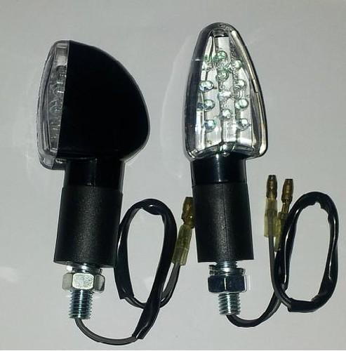 Coppia Indicatori Direzione Frecce Moto LED Custom Naked Universali Nero