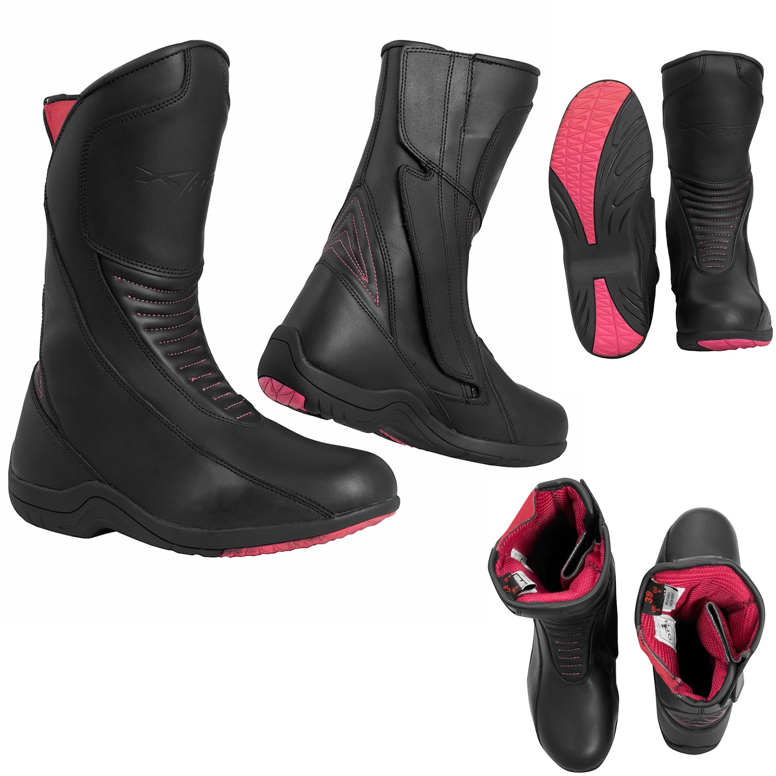 Sally-Boots-Stivali-Motorcycle-Pink-Rosa-Nero-Black-Sonic-Moto-A-Pro-Set