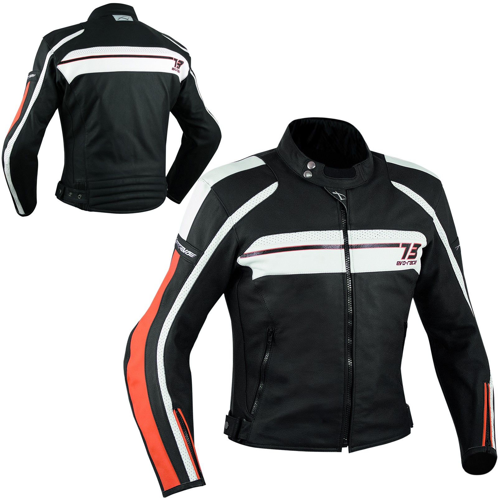 Giacca Pelle Moto Custom Protezioni Omologate CE Rinforzo Schiena Arancione