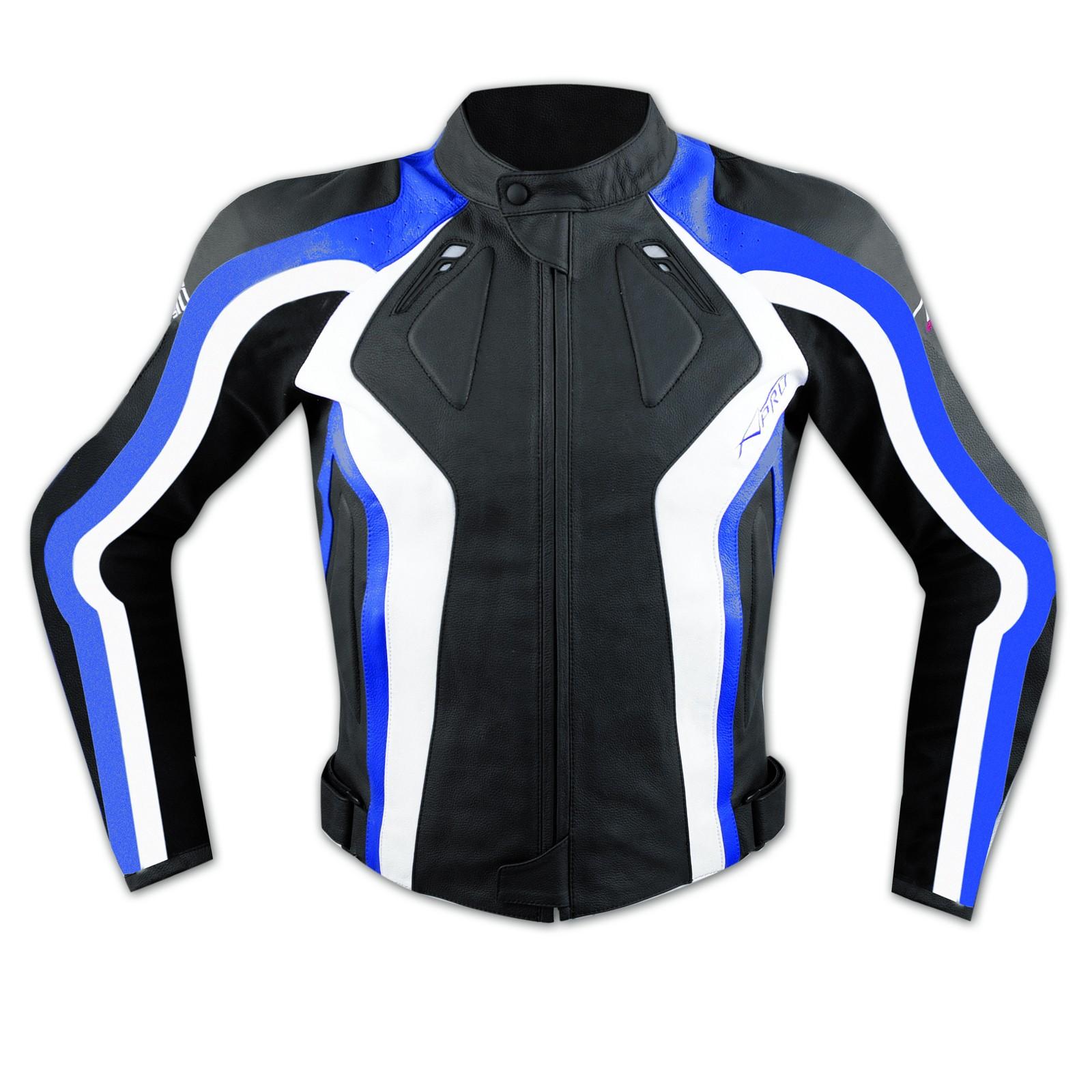 Giacca Donna Lady Moto Pelle Protezioni Omologate CE Rinforzo Schiena Blu