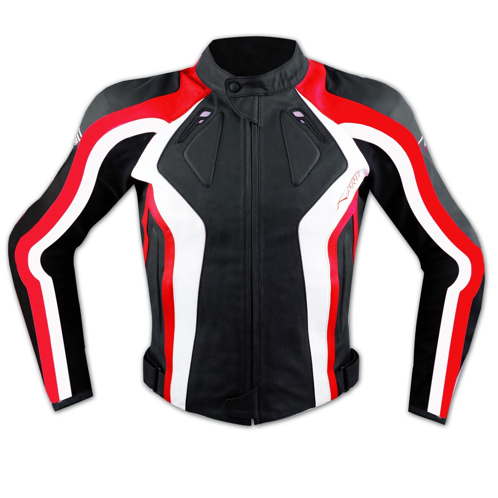 Giacca Donna Lady Moto Pelle Protezioni Omologate CE Rinforzo Schiena Rosso