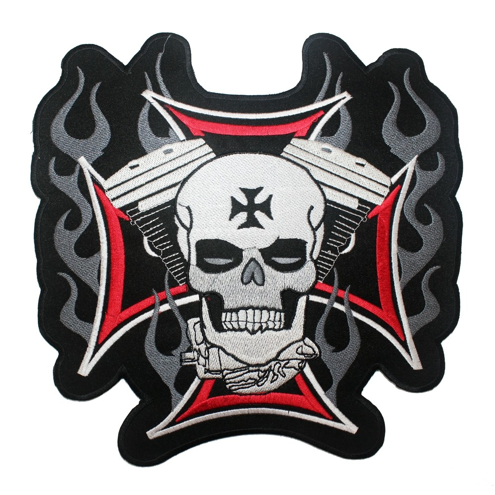 Patch-Toppa-Motorcycle-Skeleton-Black-Cross-Sonic-Moto-A-Pro