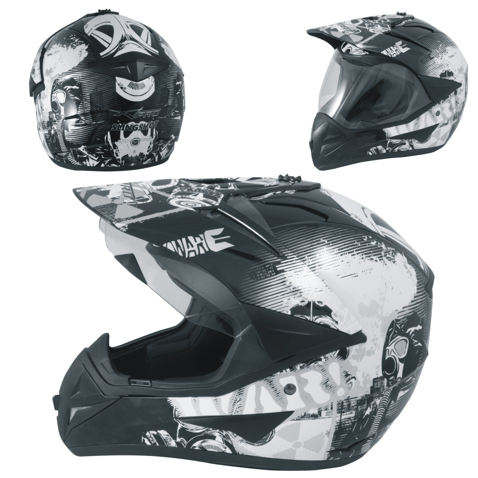 Casco Moto Cross Enduro Trial Quad Off Road Visiera Anti Nebbia Nero Grafica