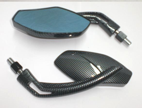 Coppia Specchietti Moto Specchio Retrovisore Naked Custom Metallo Carbon DX+SX