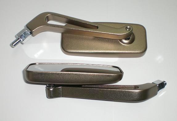 Coppia Specchietti Specchio Retrovisore Moto Naked Custom Metallo Titanio DX+SX