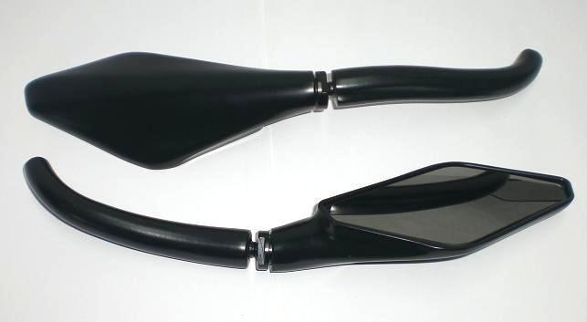 Coppia Specchietti Specchio Retrovisore Moto Custom Naked Metallo Nero DX+SX