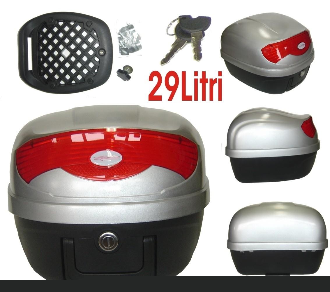 Bauletto Baule Moto Scooter 29 Litri Valigia Piastra Universale Argento