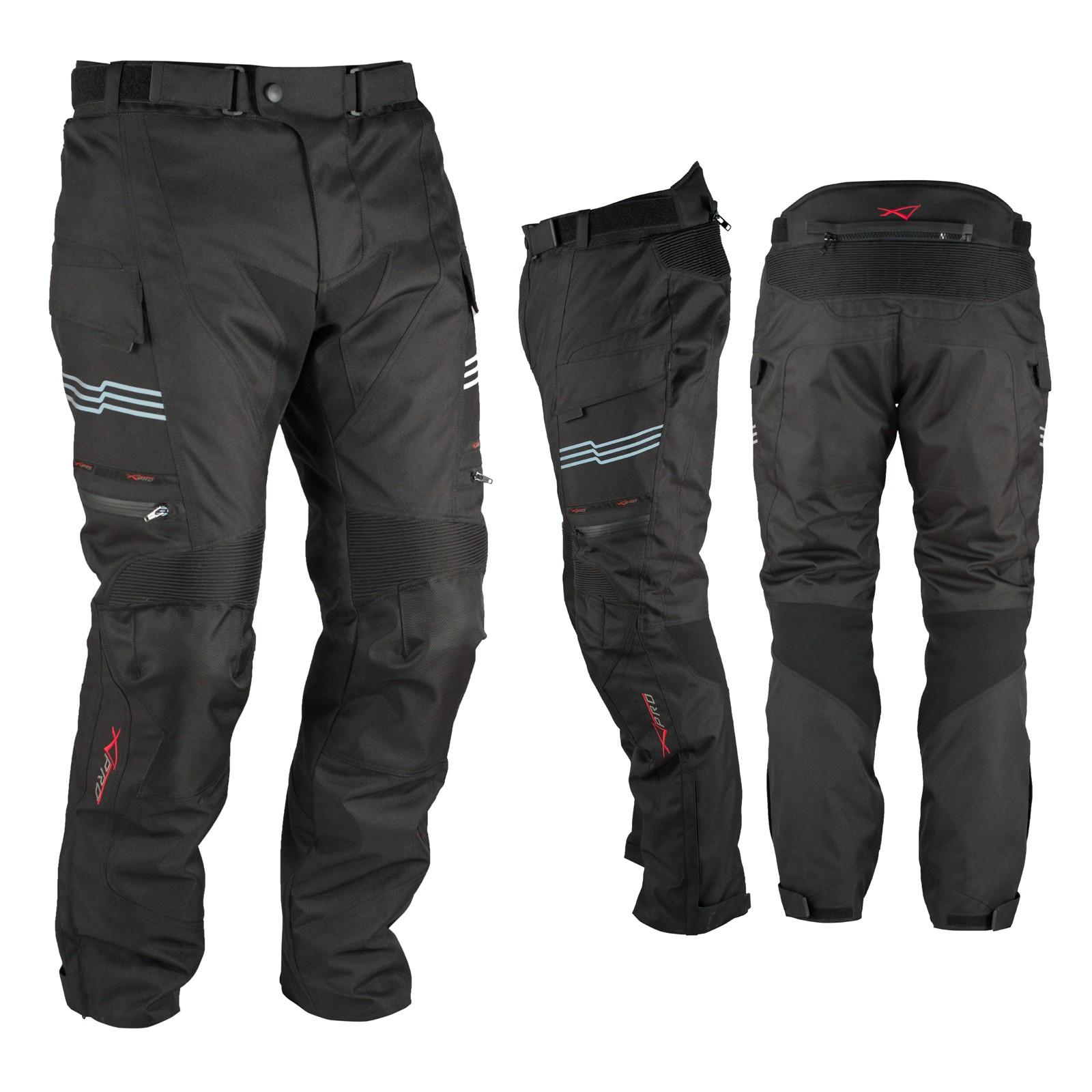 Pantaloni Impermeabile Moto Termica Estraibile Strisce Riflettenti Nero
