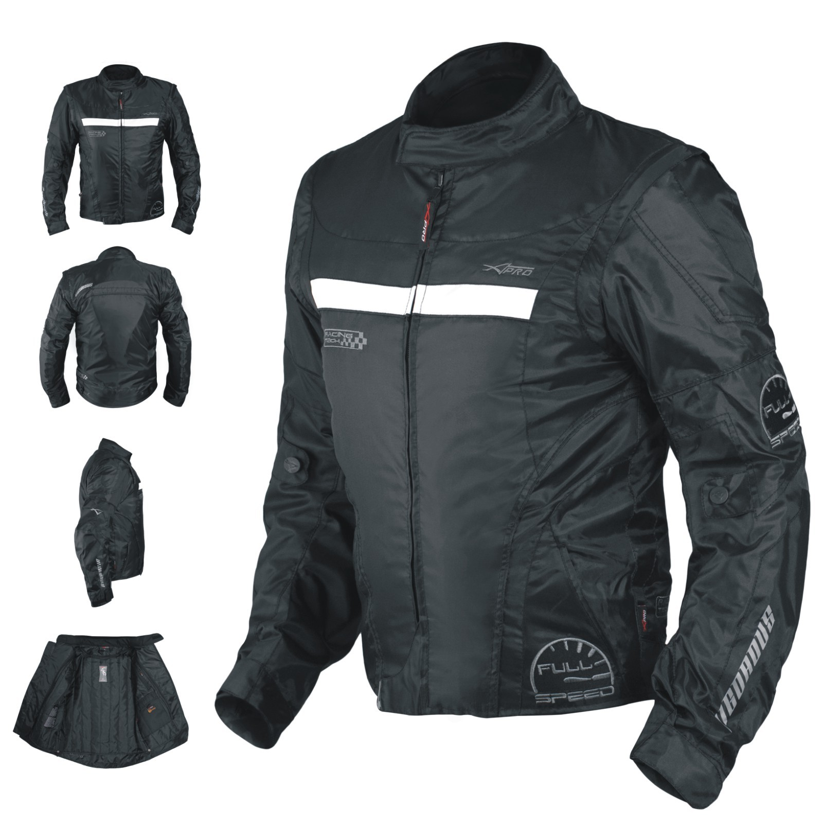 Vigorous A-Pro Giacca Jacket Nero Black Tessuto Textile Sonic Moto