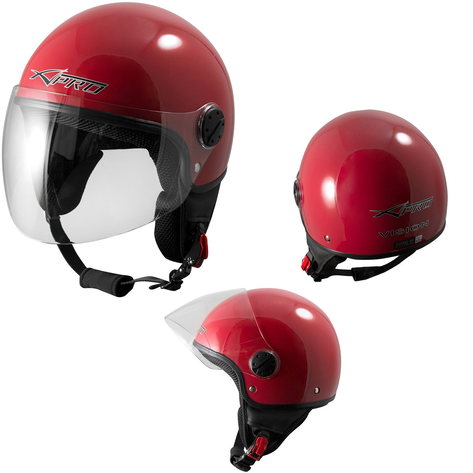 Vision-Jet-Casco-Helmet-Motorcycle-Red-Rosso-Sonic-Moto-A-Pro-Set
