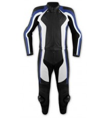 Tuta 2 Pezzi Pelle Moto Divisibile Giacca Pantaloni Protezioni CE Blu