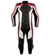 Tuta 2 Pezzi Pelle Moto Divisibile Giacca Pantaloni Protezioni CE Rosso