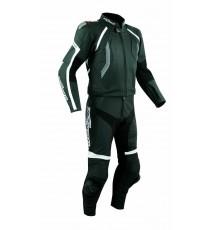 Tuta Pelle Moto Racing Pista Sport 2 Pezzi Divisibile Giacca Pantalone Nero