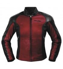 Giacca Pelle Donna Moto Lady Protezioni CE Fodera termica Custom Moda Rosso