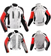 Giacca Moto Tessuto Cordura Mesh Protezioni CE Impermeabile 4 Stagioni Bianco