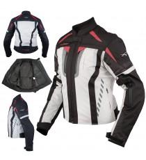 Giacca Donna Moto Ventilata Tessuto Protezioni CE Sport Rosso