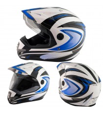 Casco Moto Cross Enduro Trial Quad Off Road Visiera Anti Nebbia Blue
