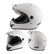 Casco Moto Cross Enduro Trial Quad Off Road Visiera Anti Nebbia Bianco