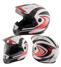 Casco Moto Cross Enduro Trial Quad Off Road Visiera Anti Nebbia Rosso