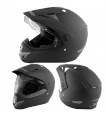 Casco Moto Cross Enduro Trial Quad Off Road Visiera Anti Nebbia Nero Opaco