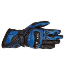 Guanto Pista Sportivo Stradale Race Sport Racing Pelle Protezioni Carbonio Blu