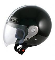 Casco Demi Jet Visiera Lunga Policarbonato Omologato Moto Scooter Nero
