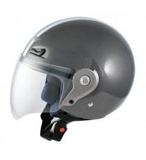 Casco Demi Jet Visiera Lunga Policarbonato Omologato Moto Scooter Grigio Scuro