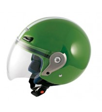Casco Demi Jet Visiera Lunga Policarbonato Omologato Moto Scooter Verde