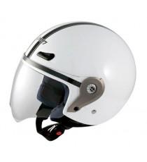 Casco Demi Jet Visiera Lunga Policarbonato Omologato Moto Scooter Bianco