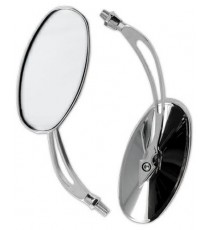 Specchio Custom Retrovisore Moto Chopper Coppia Specchietti Cromo DX+SX