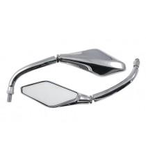 Coppia Specchietti Specchio Retrovisore Moto Custom Naked Metallo Cromo DX+SX