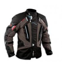 Giacca Touring Moto Cordura Tessuto Protezioni CE Impermeabile Marrone