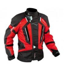Giacca Touring Moto Cordura Tessuto Protezioni CE Impermeabile Rosso