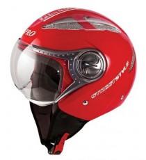 Casco Jet Demi Avio Prese Aria Traspirante Omologato Moto Scooter Touring Rosso