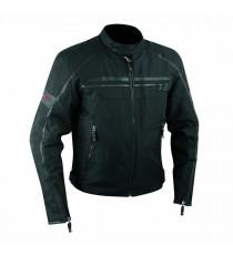 Giacca Moto Sport Custom Impermeabile Sfoderabile Tessuto Inserti Pelle Nero