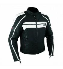 Giacca Moto Sport Custom Impermeabile Sfoderabile Tessuto Inserti Pelle Bianco
