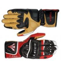 Guanto Sportivo Pista Moto Tecnico Protezioni Carbonio Professionale Pelle Rosso