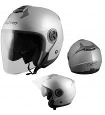 Duplex-Casco-Helmet-Motorcycle-Argento-Silver-A-Pro-Sonic-Moto-Set