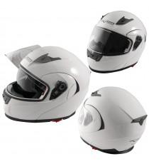 Casco Modulare Apribile Moto Touring Visiera Interna Parasole Viaggio Bianco
