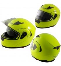 Casco Modulare Apribile Moto Touring Visiera Interna Parasole Viaggio Fluo