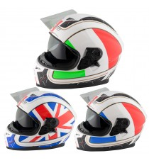 Casco Integrale Moto Scooter Visiera Interna Parasole Touring Bandiera