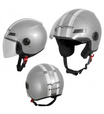 Jet Helmet Fever A-Pro Casco Silver Sonicmotoshop