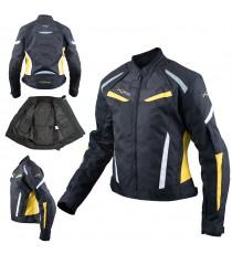 Moto Giacca Donna Sport Impermeabile Tessuto Riflettente Fluo