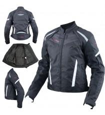 Moto Giacca Donna Sport Impermeabile Tessuto Riflettente Nero