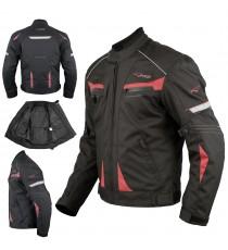 Giacca Moto Sport Tessuto Protezioni CE Impermeabile Ventilata Rosso