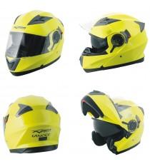 Casco Modulare Apribile Moto Touring Sport Visiera Parasole Giallo Fluo