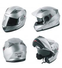 Casco Modulare Apribile Moto Touring Sport Visiera Parasole Silver