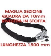 Lucchetto Catena Acciaio 1,5mt diametro 10 mm Moto Bici Scoter