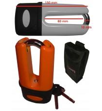 Lucchetto Bloccadisco Perno Acciaio  Antifurto Moto Scooter con Chiave Arancione